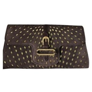 New! JIMMY CHOO Brown Suede Wallet W/ Gold Design